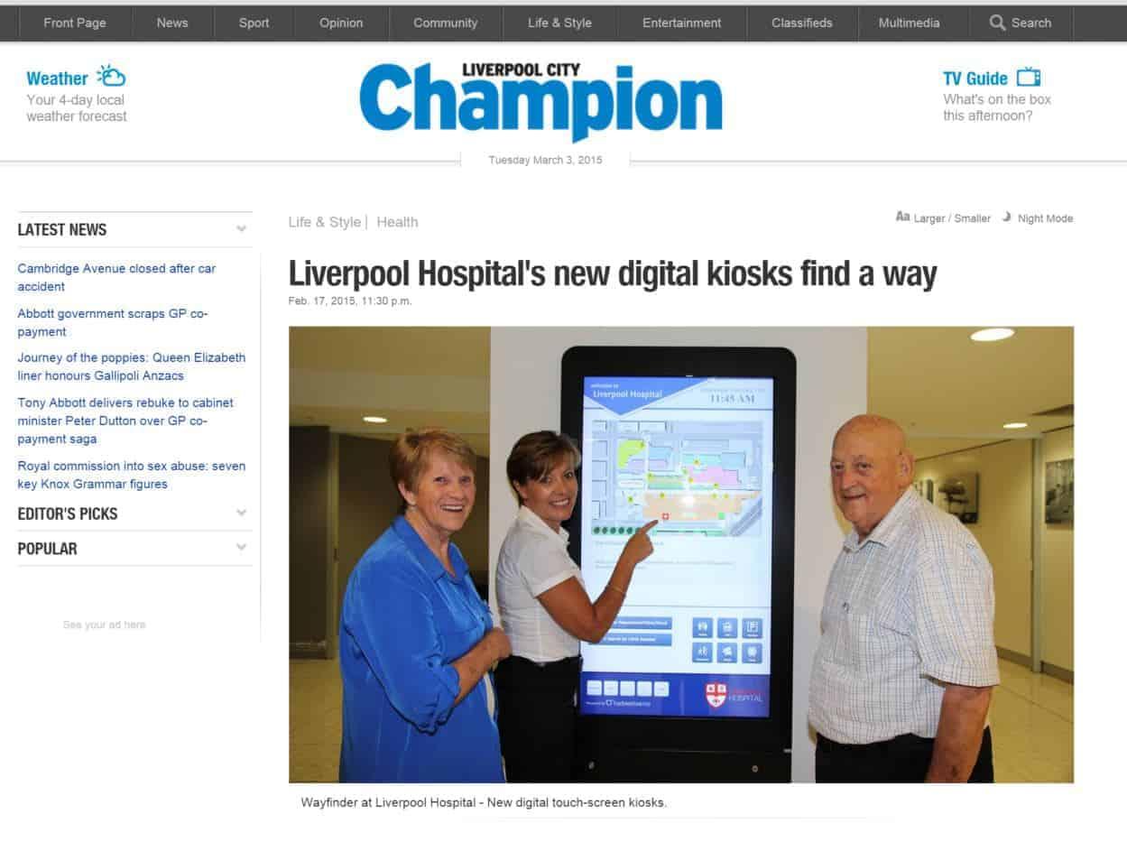Liverpool Hospital Digital Wayfinding Liverpool Champion