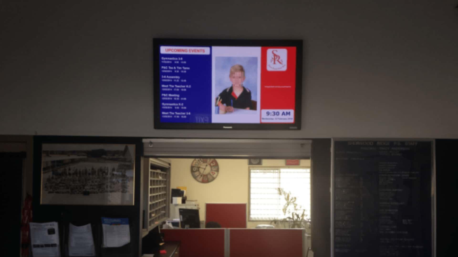 Advertise Me Digital Signage Sherwood Ridge Public School Education Board Sentral Integration Reception