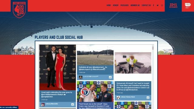 Social Wall – Sydney Roosters NRL Member Website