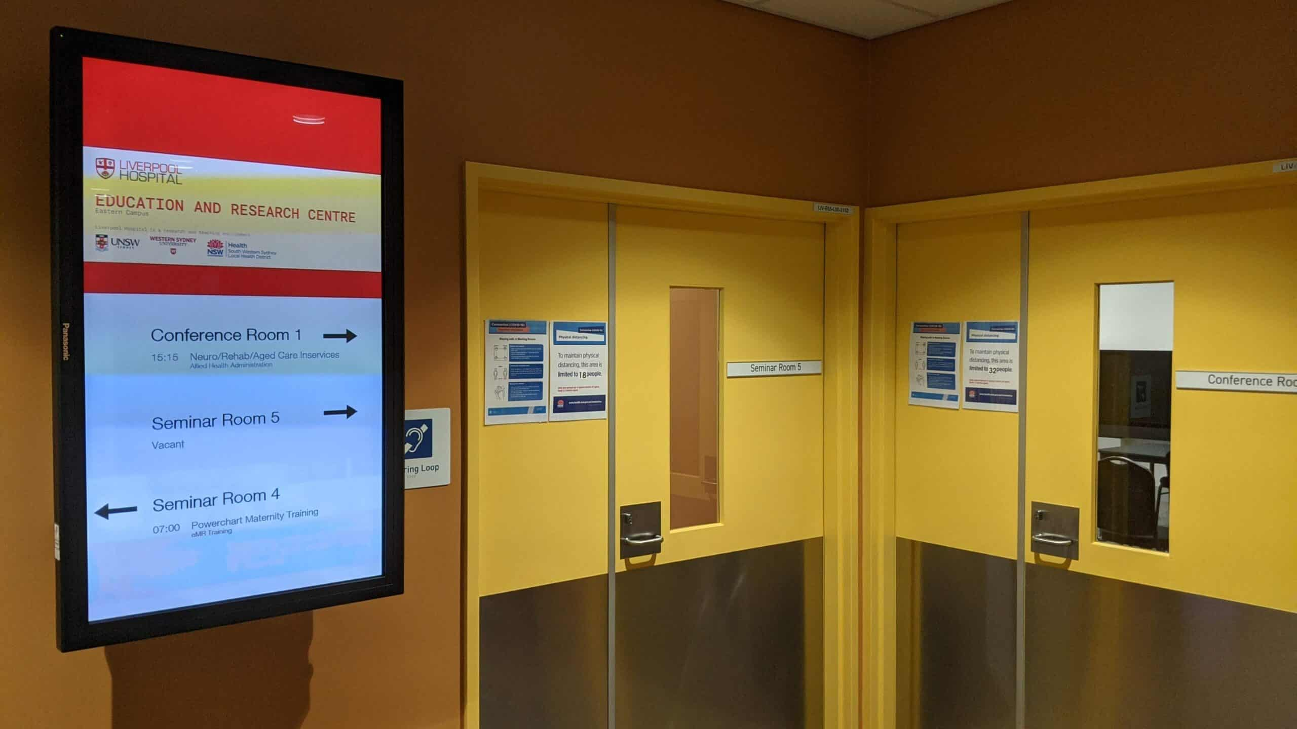 Advertise Me Digital Wayfinding Liverpool Hospital Education and Research Centre Confere scaled