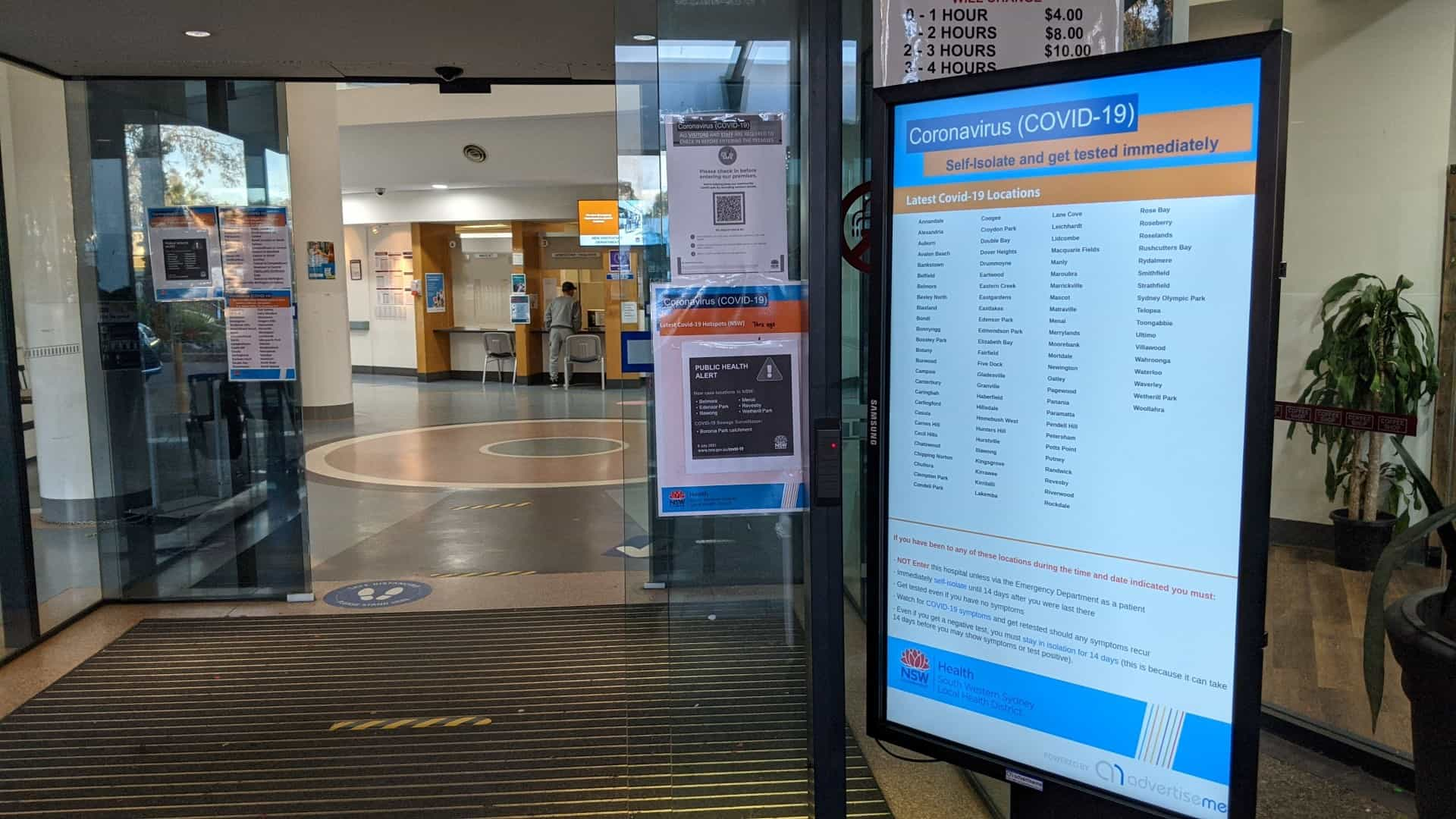Advertise Me Bankstown Hospital Covid 19 screening station solution main entrance